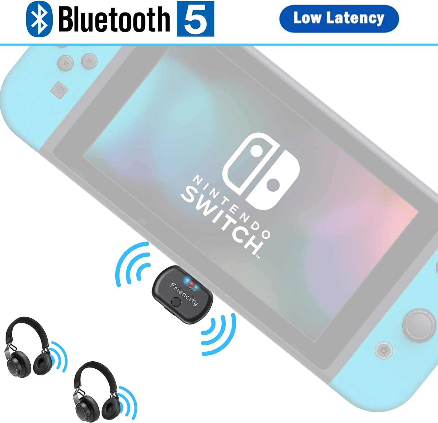 Amazon Com Friencity Bluetooth Audio Transmitter For Nintendo Switch Ps4 Low Latency Usb Type C Wireless Adapter Support In Game Voice Two Headphones Compatible With Airpod Bose Sony Headphone Plug N Play Home Audio
