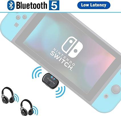 Friencity - Adaptador de transmisor de audio Bluetooth para Nintendo Switch PC PS4, conector USB C inalámbrico adaptador de dongle par a Bluetooth auriculares/altavoz, chat de voz en juego, Dual Link aptX