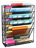 EasyPAG Mesh Wall File Holder 5 Tier Vertical Mount / Hanging Organizer with Bottom Flat Tray ,Black