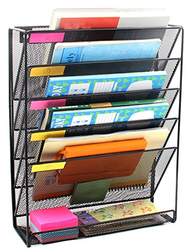 easypag mesh wall mounted file holder organizer literature rack 5 compartments ebay. Black Bedroom Furniture Sets. Home Design Ideas