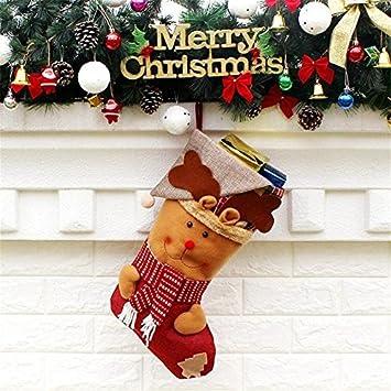 1pcs diferentes tamaños 3style calcetines de Navidad para los titulares de Navidad de Santa Claus Holder Bolsas partido del árbol de navidad: Amazon.es: ...