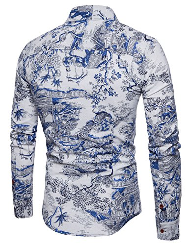 f5eb7c2be5d2 LEFTGU Men s Printed Long Sleeve Slim Fit Button-Down Multicolored Linen  Casual Shirts