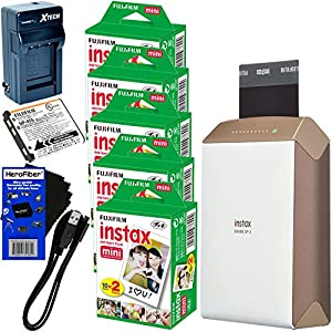 Fujifilm instax SHARE Smartphone Printer SP-2, Gold (International Version) + Instax Mini Instant Film (100 sheets) + Rchrgbl. Battery + AC/DC Charger + HeroFiber Gentle Cleaning Cloth