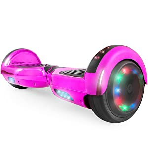 """WorryFree Gadgets Hoverboard UL 2272 Certified Light-up Wheel 6.5"""" Bluetooth Speaker with LED Light Self Balancing Wheel Electric Scooter- Assorted Colors"""