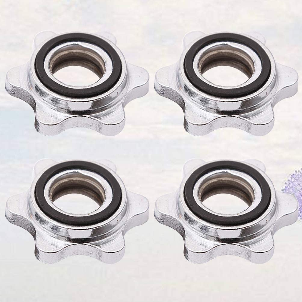 Garneck 4pcs Hex Nut Threaded Casting Iron Replacement Anti-slip Spin-Lock Collar Screw Hex Nut for Dumbell Barbell Weight Lifting