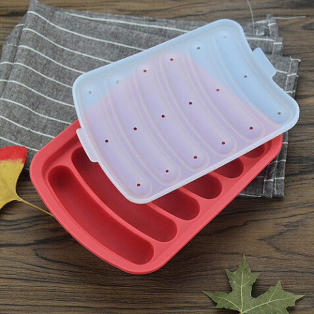 ICYANG 6 Grid Silicone Ham Mold Sausage Hot Dog Making Moulds with Cover DIY BBQ Grill Baking Tools Home Kitchen Red