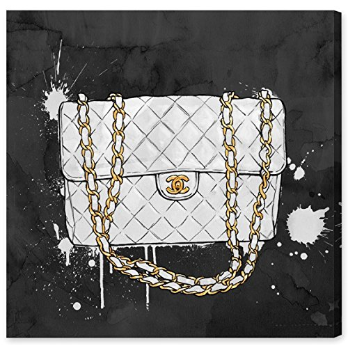 Everything But My White Bag by Oliver Gal | Modern Premium Canvas Art Print. The Fashion Wall Art Decor Collection. 43x43 inch, Gold