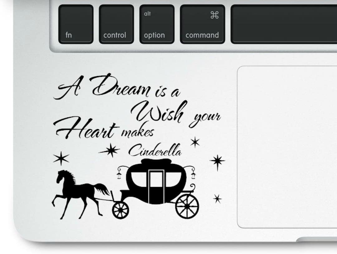 Cinderella Motivational Love Life Quote A Dream is a Wish Your Heart Makes Clear Vinyl Printed Decal Sticker for Laptop MacBook Compatible with All MacBook Retina, Pro and Air Models Trackpad