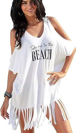 Camisolas y Pareos Mujer Vestidos de Playa Traje de Baño Cubrir Tapa de Camisola Flecos Bikini Blusa De Playa Bikini Beach Cover Up Blanco One Size: Amazon.es: Ropa y accesorios