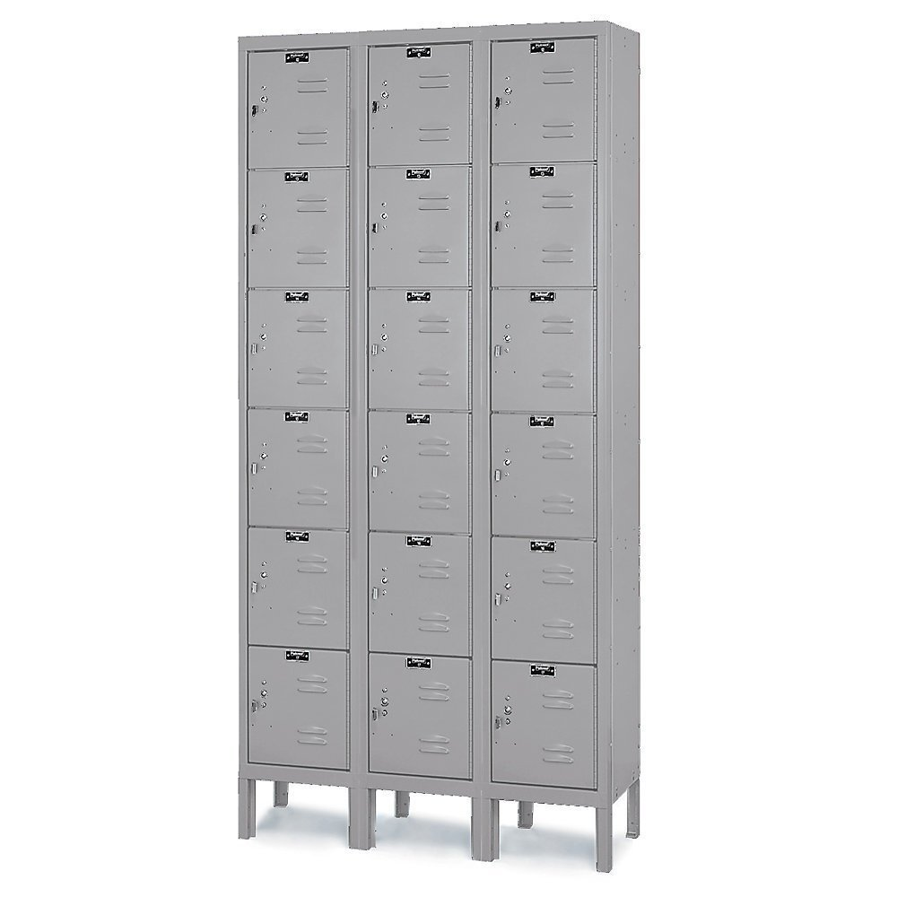 Hallowell U3228-6A-HG Premium Locker, 36'' Width x 12'' Depth x 78'' Height, 6-Tier, 3-Wide, Assembled, 725 Gray by Hallowell