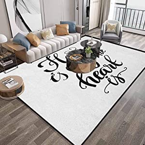 Home Sweet Home Living Room Area Rugs 6X9 Feet,Home is Where The Heart is Quote Hand Written Style Monochrome Design,Extra Soft and Comfy Carpets with Lock-Edge & Non-Slip Bottom,Black White
