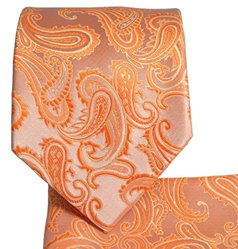 Paisley Pattern Necktie Set (Tangerine Orange)-600-M -