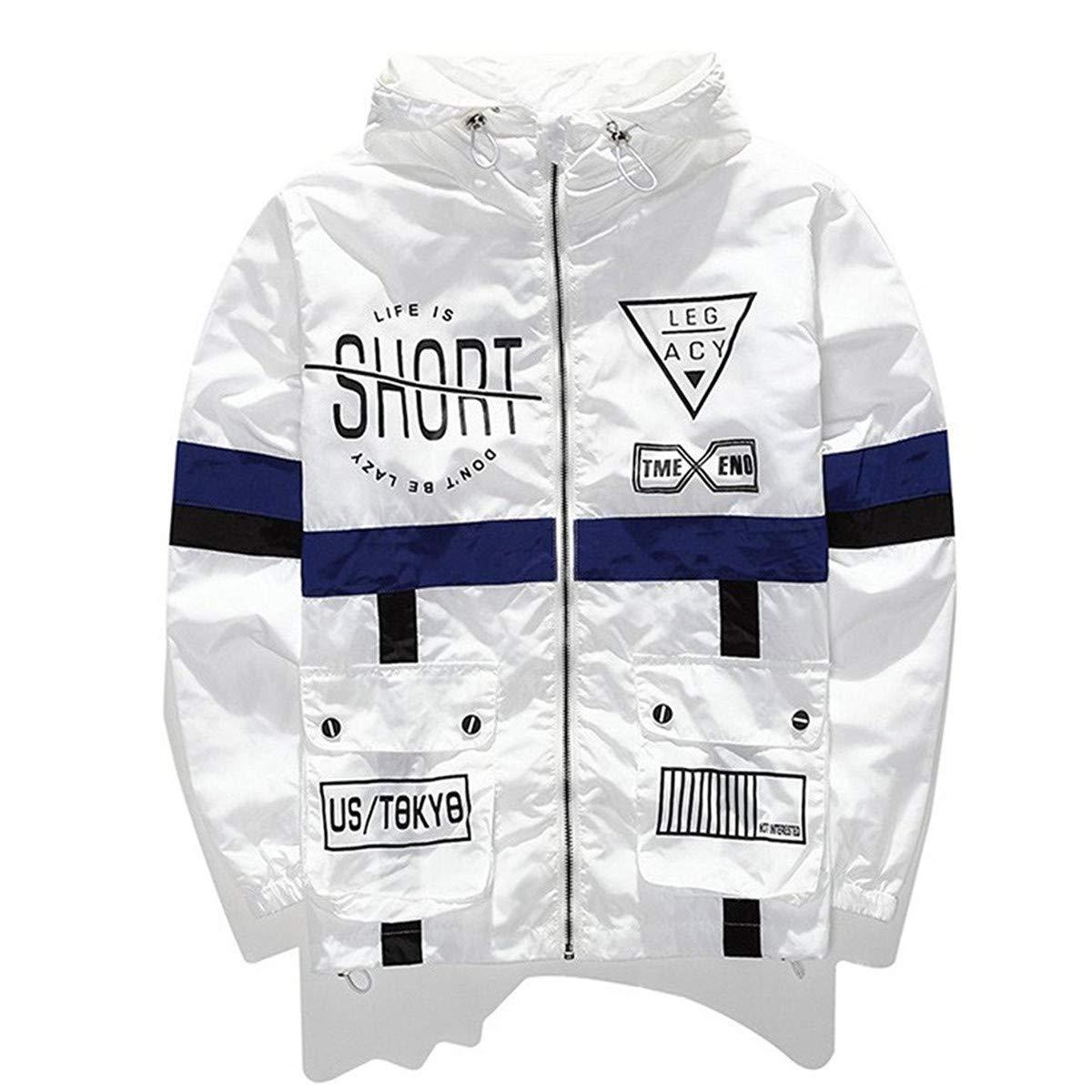 AITFINEISM Men's Fashion Lightweight Hooded Zip-up Letter Windbreaker Jacket (XX-Large, White) by AITFINEISM