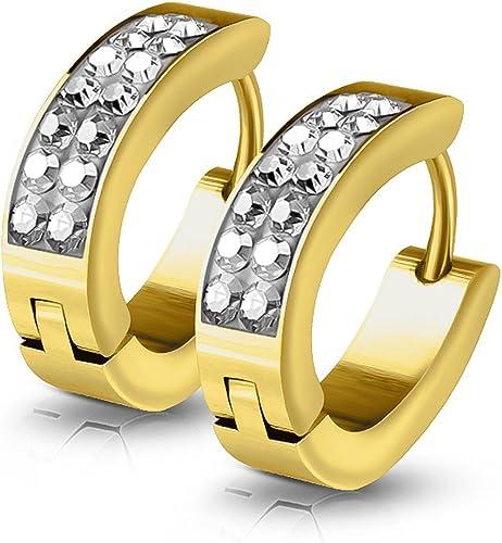 Damen Creolen goldene Ohrstecker Kreolen Muster Ringe Zirkonia Kristalle 12 mm