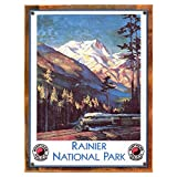 Cheap Wood-Framed Ranier National Park Metal Sign: Train and Railroad Decor Wall Accent for kitchen on reclaimed, rustic wood