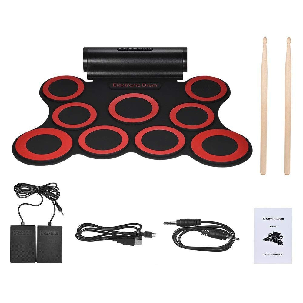 Portable Electronic Drum Pad USB MIDI Roll Up Electronic Drum Set Support DTX Game Practice Drum Kit With 9 Silicon Pads Built-in Double Stereo Speaker Headphone Jack Sustain Pedals Drum Sticks Record