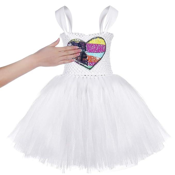 Amazon.com: Vestido de tutú para niña blanca con disfraz de ...