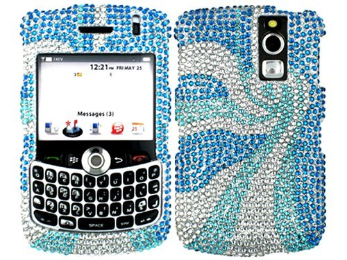 Swirl Blue Bling Rhinestone Faceplate Diamond Crystal Hard Skin Case Cover for Blackberry Curve 8300 8310 8320 (8330 Faceplate Cover Case)