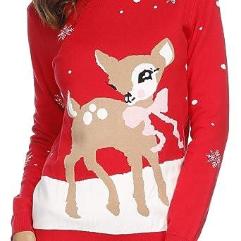 9a4a36f4023 Tiffley Time Pull Moche de Noël en Tricot Imprimé de Flocon de Neige et Wapiti  Jumper Ugly Christmas Sweater pour Femmes  Amazon.fr  Vêtements et ...