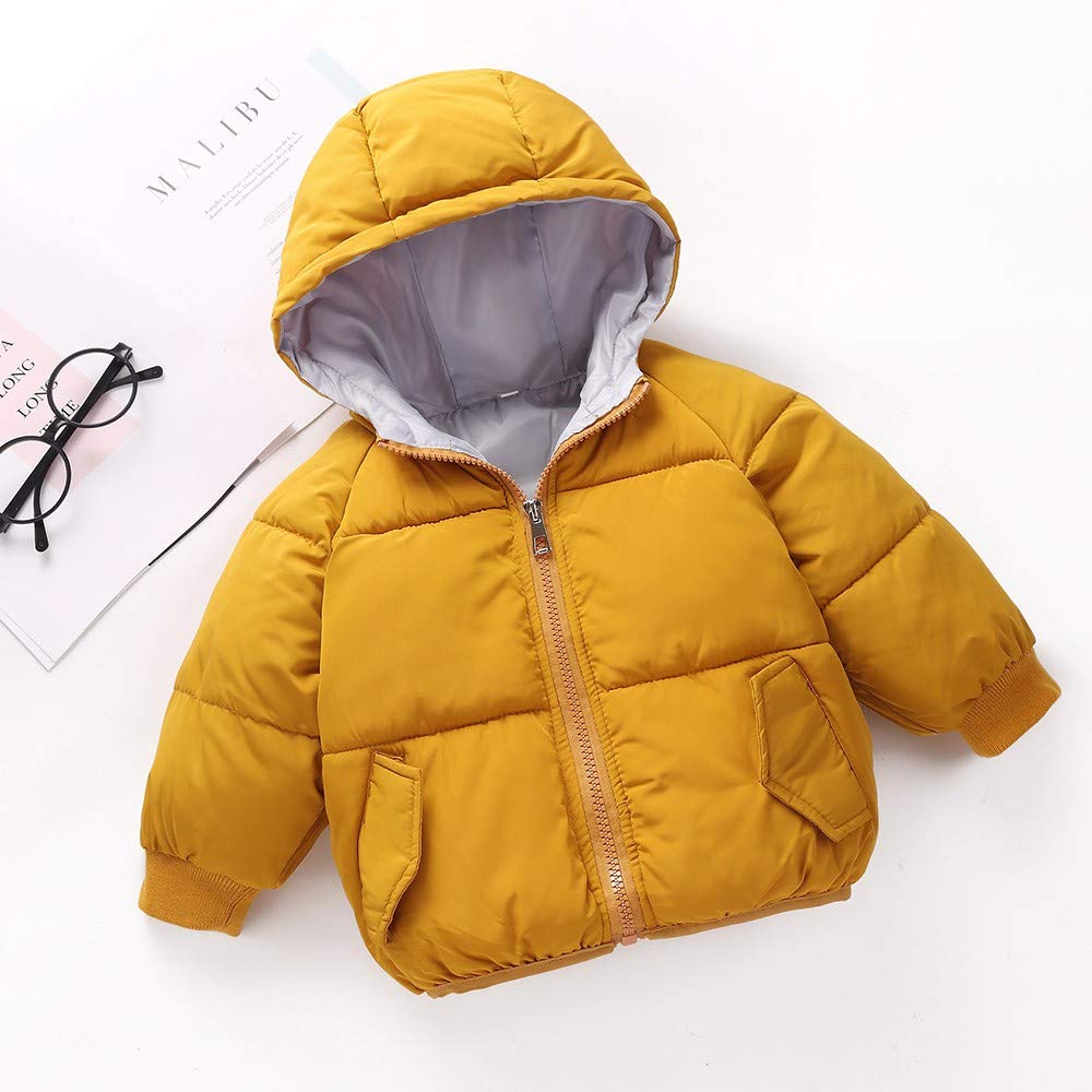 5f081db30 ... WARMSHOP Kids Baby Boys Down Coat, Long Sleeve Solid Fall Winter Warm  Thick Pocket Snowsuit