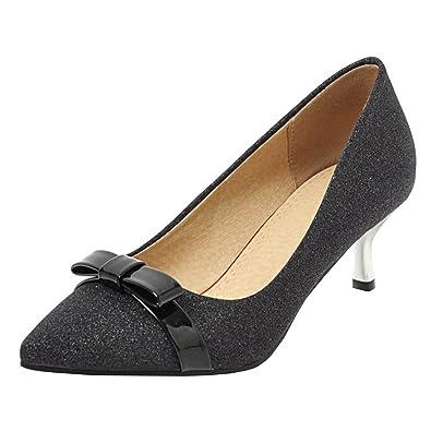 8552d186954f02 AIYOUMEI Damen Kitten Heels Pumps mit Schleife Glitzer Schuhe Kleiner Absatz  Frauen Schwarz 34 EU