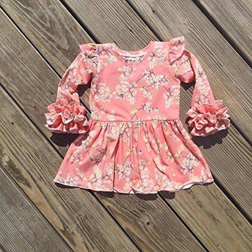 Pink cherry blossom girls ruffle tunic, Valenintes day tunic, sizes 2t-8y - Ruffle Cherry
