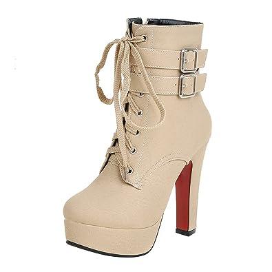 097961b17fddf YE Damen Blockabsatz Ankle Boots High Heels Gefütterte Stiefeletten Plateau  mit Schnürsenkel Reißverschluss und Schnalle Elegant Schuhe