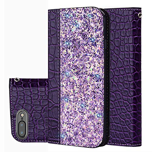 Black Friday Cyber Monday Deals iPhone 8Plus Case,iPhone 7Plus Wallet Case Cover,[Bling Glitter Shiny] Leather Flip Folio Case Cover Kickstand Card Slot for iPhone 8Plus (Purple-iPhone 8Plus/7Plus)]()