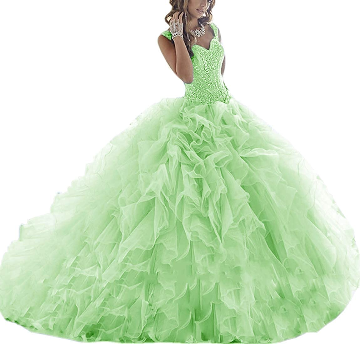 Lemon Green ASBridal Quinceanera Dresses Long Prom Party Dress Sweet 16 Crystals Beads Formal Ball Gowns Orangza