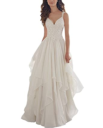 Aurora Bridal 2018 Womens Chiffon V-Neck Lace Appliques Beach Wedding Dress A058 Size 2