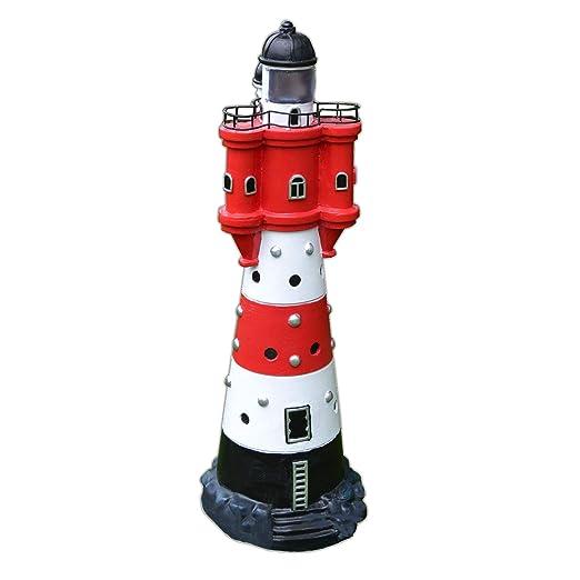 XL LED Solar Leuchtturm 50 cm | Garten Deko Leuchtfeuer Rot Weiß | Gartendeko Beleuchtung Mit Dämmerungssensor | Solarbeleuch