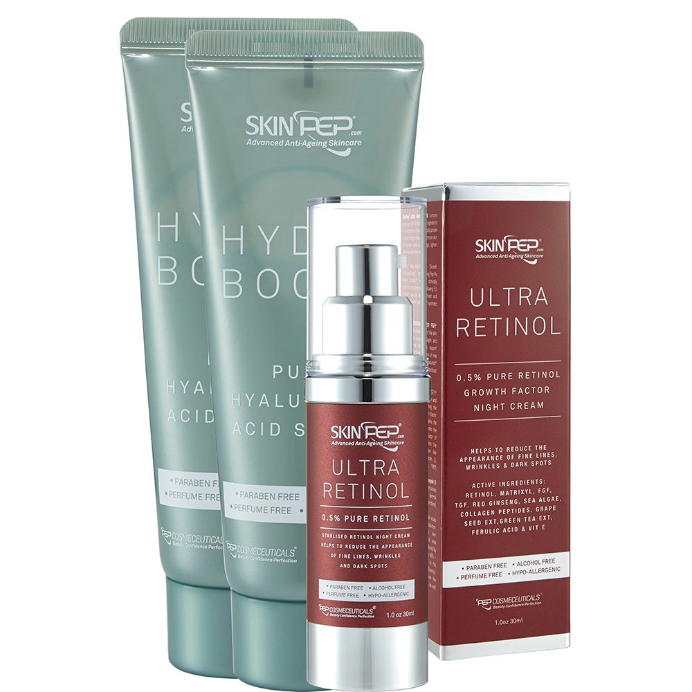 SkinPep Ultra Retinol 0.5% Serum 14ml + Hydra Boost 70ml - Helps To Reduce The Appearance Of Fine Lines + wrinkles + dark spots + 0.5% Pure Retinol + Hyaluronic Acid - 100% Satisfaction or Your Money Back Guarantee. Pep Cosmeceuticals ltd RT14-HB70