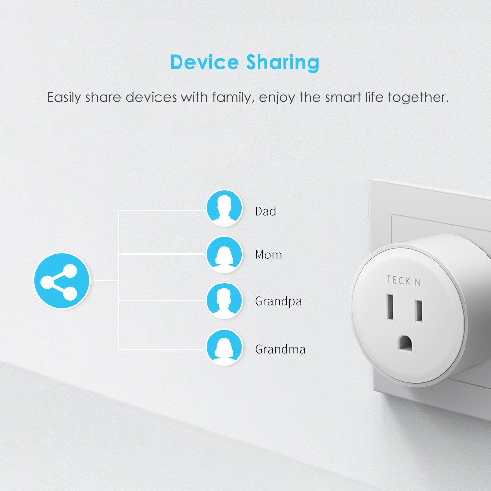 Smart Outlet Works with Amazon Alexa Echo Google Assistant IFTTT for Voice Control, Teckin Mini Smart Plug Wifi Socket with Timer Function, No Hub Required, White by TECKIN (Image #6)