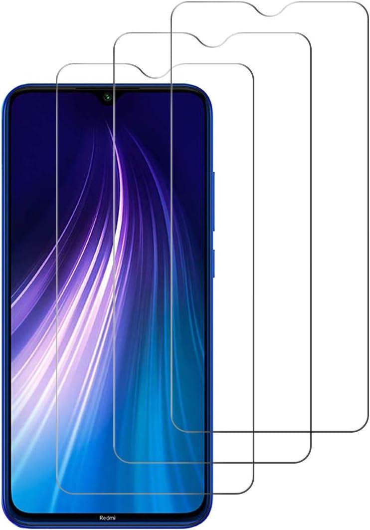 [3 Unidades] Protector de Pantalla para Xiaomi Redmi Note 8,Cristal Templado para Xiaomi Redmi Note 8 Alta Definicion,9H Dureza,Sin Burbujas - Transparente
