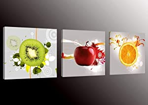 Formarkor Art Kx1656 Fruit Picture Canvas Wall Art Prints for Kitchen,Framed Food Canvas Painting for Kitchen,Red Apple,Orange,Green Kiwi Print on Canvas Art Home Wall Decor
