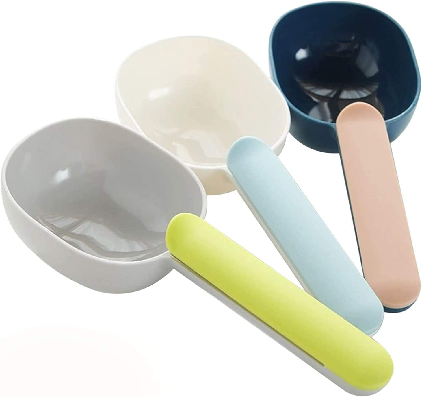 Maubooyu Dog Food Scoop, Plastic Measuring Cup Pet Food Feeding Spoon 1 Cup Size with Ergonomic Bag Clip Handle for Dry Liquid Dogs Cats Birds and Kitchen Seasonings(3 Pack)