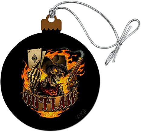 Graphics More Outlaw Skeleton Card Player Cowboy Western Wood Christmas Tree Holiday Ornament Home Kitchen