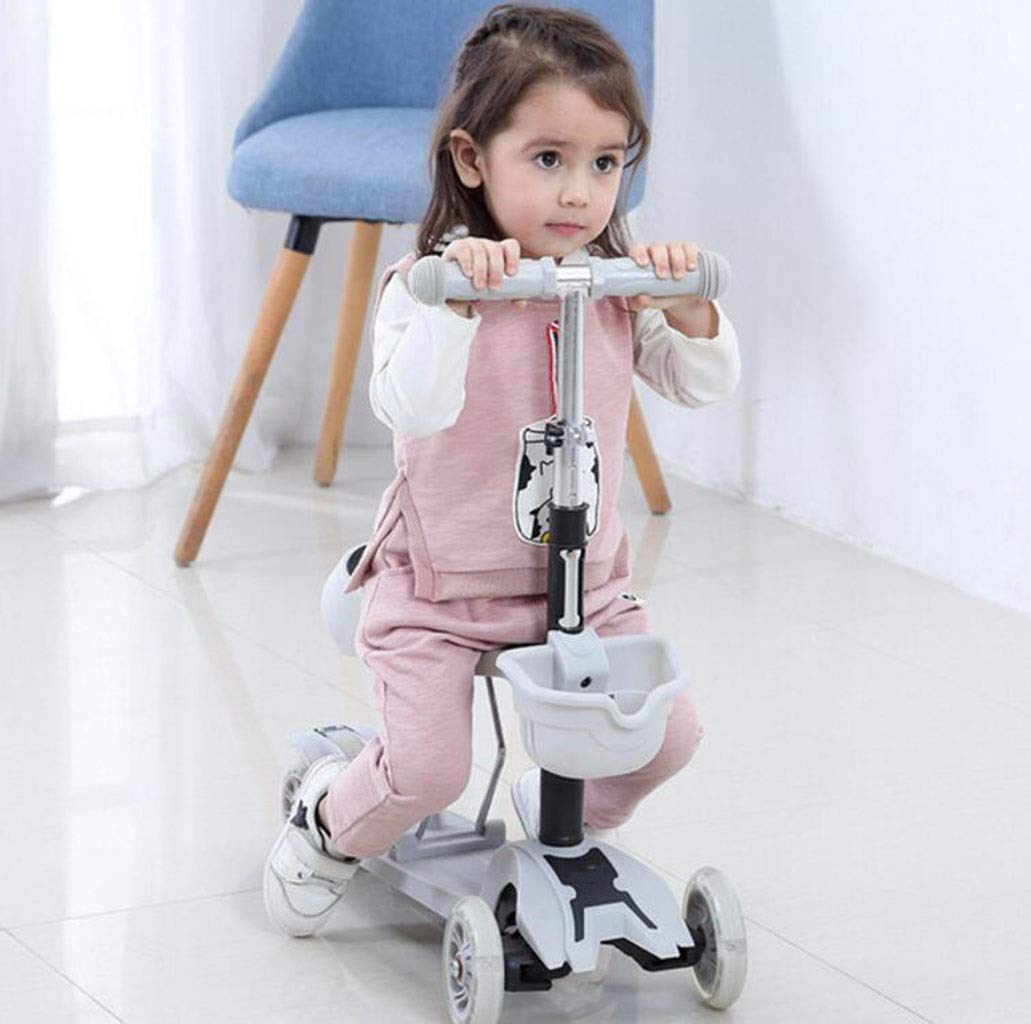 Children's scooter kick scooter children's kids 4 wheel scooter, 3 in 1 super wide wheel kids scooter with detachable seat, adjustable height handle, scooter children boys and girls 1 to 6 years old by JBHURF (Image #6)