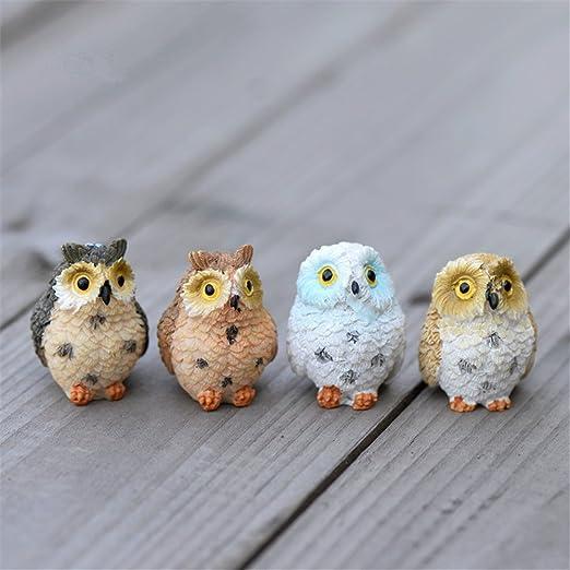 4Pcs Miniature Cute Owl Fairy Garden Figurine Decor DIY Bonsai Crafts