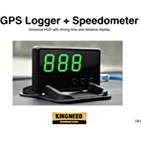 King Need C61Écran Head Up, enregistreur GPS + Universel de voiture GPS Hud with Over Speed Warning, Vehicle Speed with Driving Time and Distance + écran Speedometer for Car