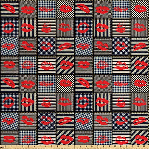 Ambesonne Fabric Fabric by The Yard, Sexy Woman Figure Kiss Lipstick Forms on Striped Houndstooth Groovy Backdrop, Decorative Fabric for Upholstery and Home Accents, 1 Yard, Black and Red