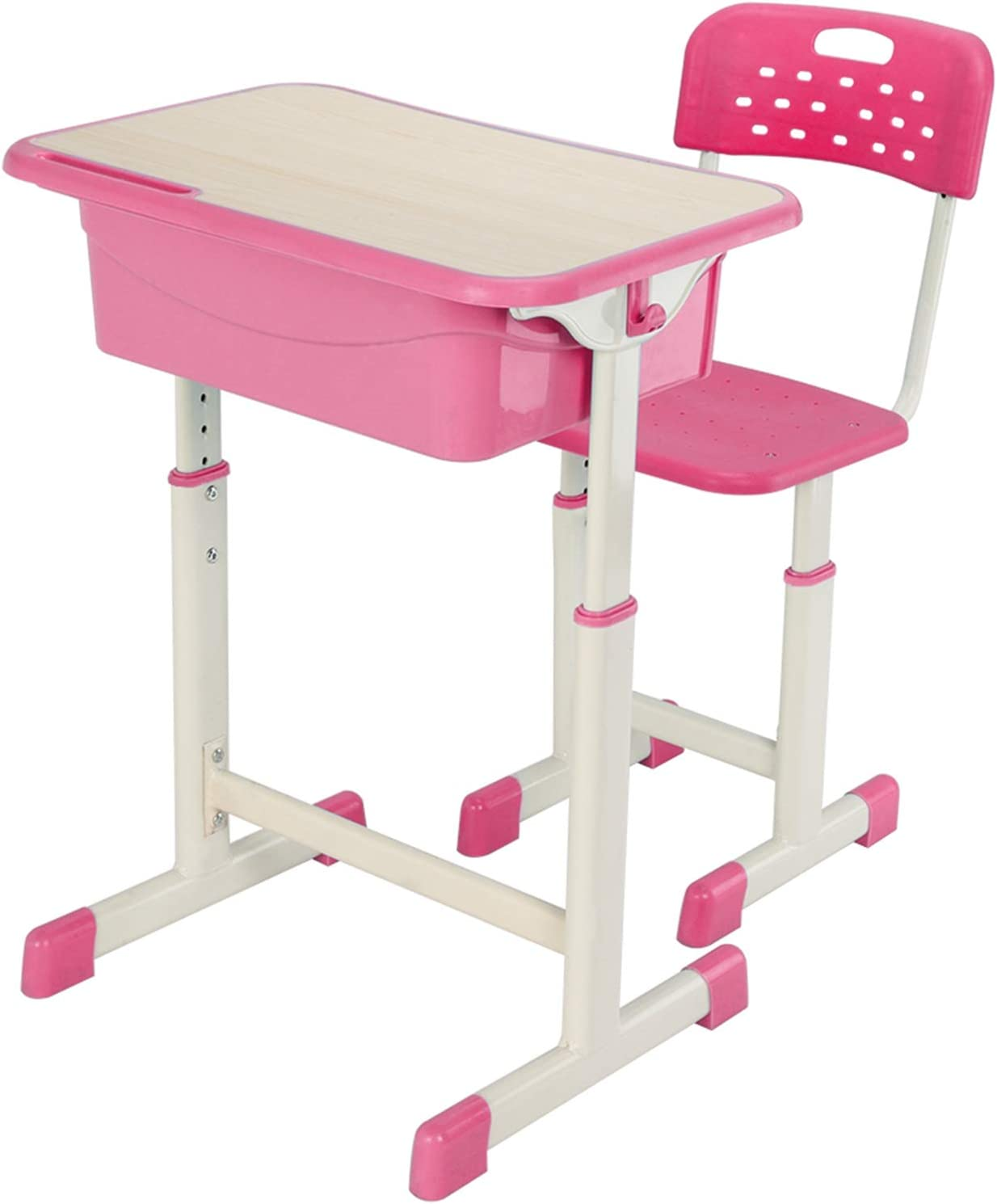 Height Adjustable Students Study Desk Kids Desk and Chair Set Workstation Writing Table Stool Kit for School Home RBtoday Student Desk /& Chair Kit Blue