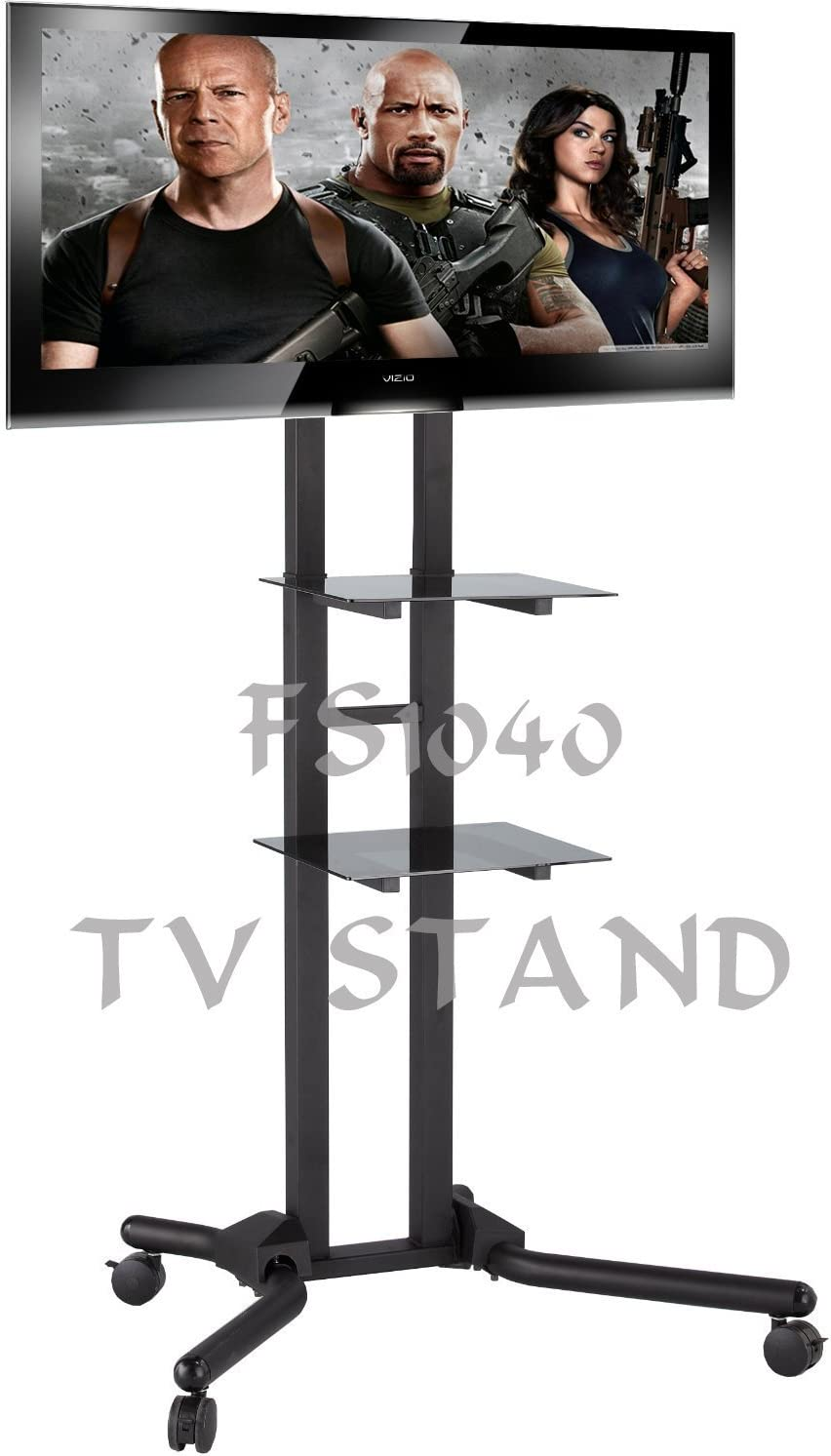 Allcam Fs1040 2m Tall Tv Trolley Stand For 40 65 Lcd Led Tvs Up To Vesa 800x400 2x Black Glass Shelves Tilt Up Down Height Adjustable 146 To 206cm Amazon Co Uk Tv