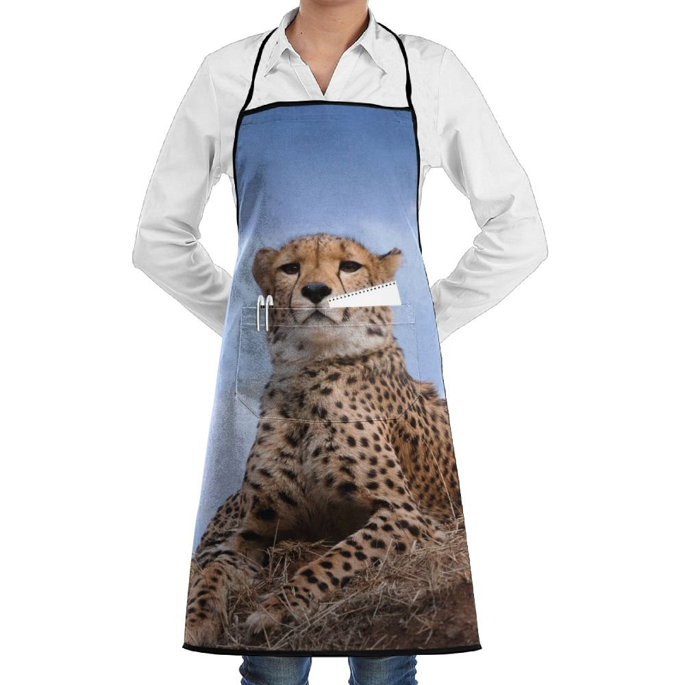 RZ GMSC Novelty Cheetah Kitchen Chef Apron With Big Pockets - Chef Apron For Cooking,Baking,Crafting,Gardening And BBQ