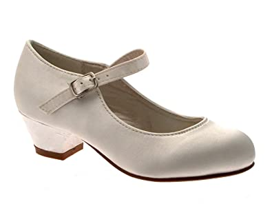 802770873 Lora Dora Girls Kids Childrens Party Bridesmaids Small Heels Mary Jane  Pageant Communion Wedding Shoes Size UK 8-2 Junior: Amazon.co.uk: Shoes &  Bags