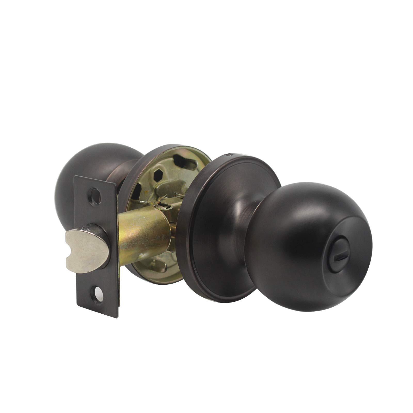 8 Pack Probrico Interior Round Privacy Keyless Door Knobs Door Lock Lockset Without Key Doorknobs Oil Rubbed Bronze for Bedroom and Bathroom-Door Knob 607 by Probrico (Image #3)