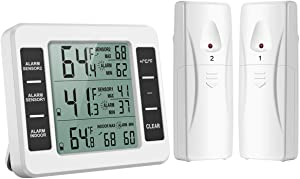 HunterBee Upgraded Refrigerator Thermometer with Dual Sensor Indoor/Outdoor Wireless Household Temperature Monitor | Alarm, LCD Digital Thermometer