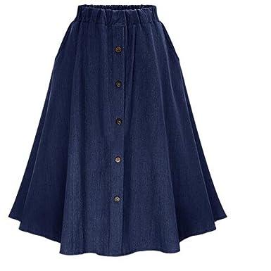 1a2c3fa14d LISASTOR Women's High Waist Slim Front Skirt Pleated Demin Skirts (Dark  Blue) at Amazon Women's Clothing store: