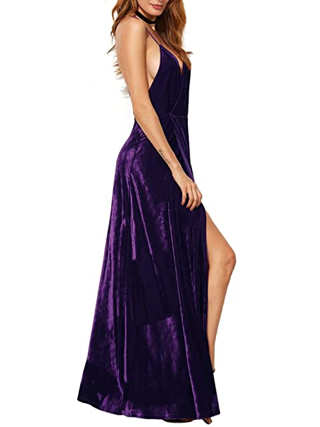 Women's V-Neck Backless Wrap Velvet Cocktai Party Dress