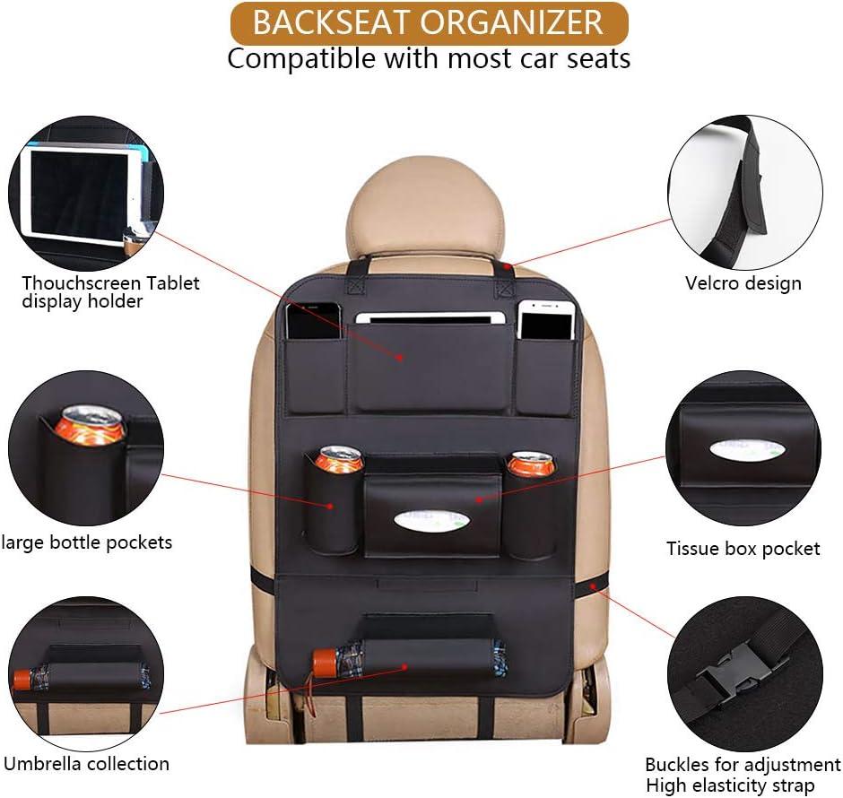 Negro 2 Pack Organizadores para Asientos de coches Kick Mats de Coche Universal Multi-Bolsillos Organizanizador para ipad Impermeable F/ácil de limpiar